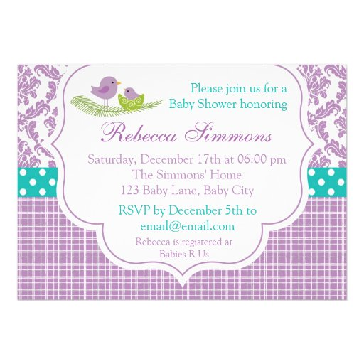 356 purple teal baby shower invitations purple teal baby shower