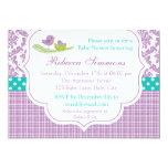 Bird Baby Shower Invitation Neutral Damask Purple