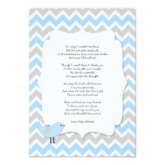 bird baby shower thank you notes poem blue gray card