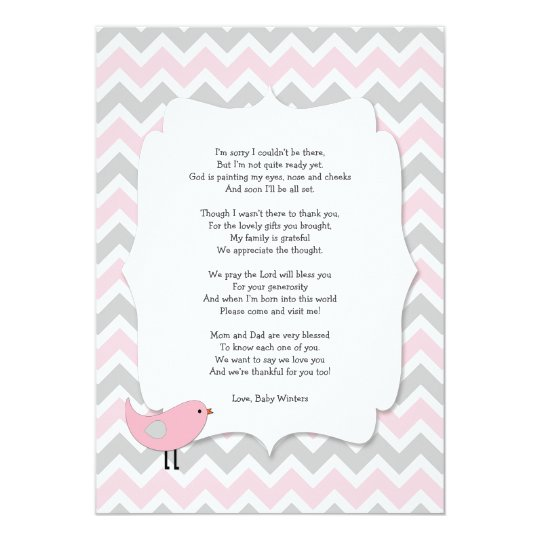 Bird Baby Shower Thank You Notes Poem Pink Gray Card