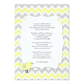Bird Baby Shower Thank You Notes Poem Yellow Card