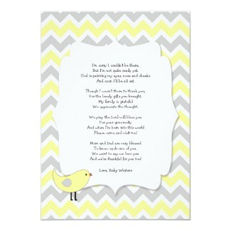 Bird Baby shower thank you notes poem yellow