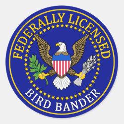 Round Sticker with Bird Bander Seal design