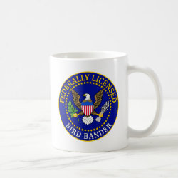 Classic White Mug with Bird Bander Seal design