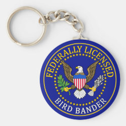 Basic Button Keychain with Bird Bander Seal design