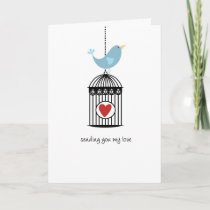 Bird & Birdcage with Heart Card