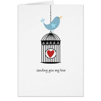 Bird & Birdcage with Heart Card
