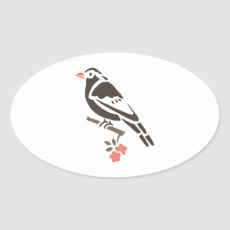 Bird Birds Black Tree Flower Art Cartoon Animal Oval Sticker