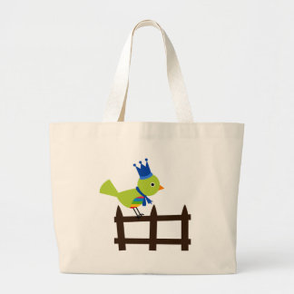 Bird Birds Green Cute Crown Fence Cartoon Animal Jumbo Tote Bag