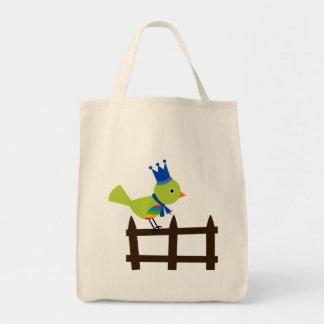 Bird Birds Green Cute Crown Fence Cartoon Animal Grocery Tote Bag