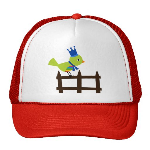 Bird Birds Green Cute Crown Fence Cartoon Animal Trucker Hat