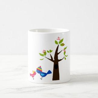 Bird Birds Mom Kid Family Tree Cute Cartoon Animal Mug