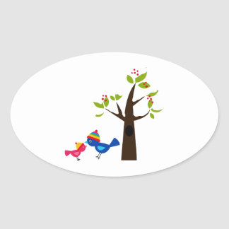 Bird Birds Mom Kid Family Tree Cute Cartoon Animal Oval Sticker