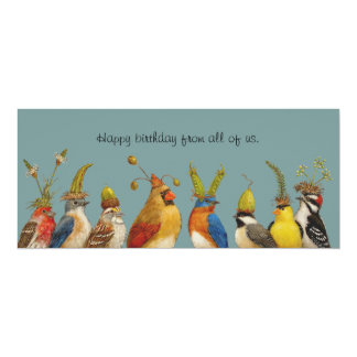 bird birthday greeting from the group flat card invitations