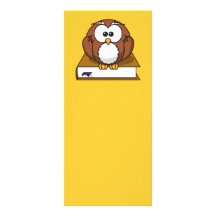 bird, book, bookmark, brown and white, brown book, full color rack card