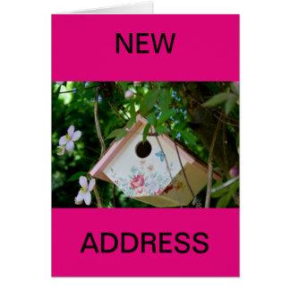 Bird Box with Pretty  Flowers New Address Card