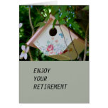 Bird Box with Pretty  Flowers Retirement Card Greeting Cards
