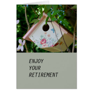 Bird Box with Pretty  Flowers Retirement Card