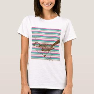 bird branch animals nature colorful pattern art T-Shirt