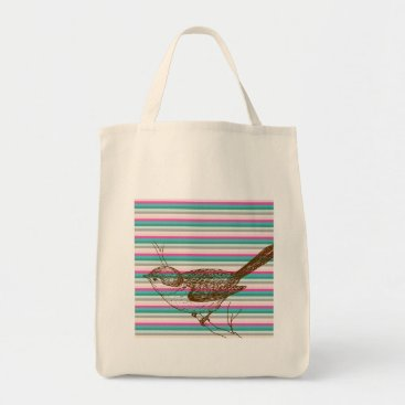Professional Business bird branch animals nature colorful pattern art tote bag