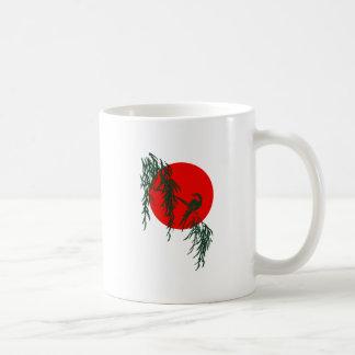 Bird branch red sun bird twig talk sun coffee mug