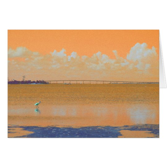 Bird Bridge Orange Blue River Florida Card