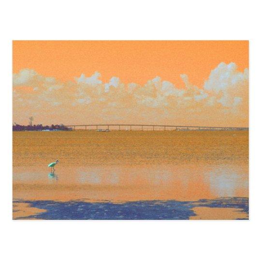 Bird Bridge Orange Blue River Florida Postcard