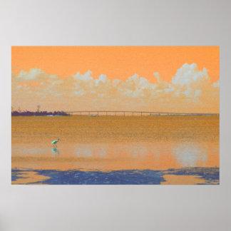 Bird Bridge Orange Blue River Florida Poster