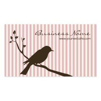Bird Business Card (pink stripe)