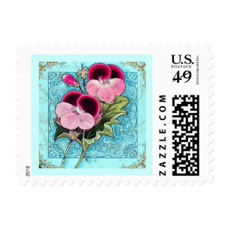 Bird, Butterfly and Flowers Vintage Collage Postag Stamps