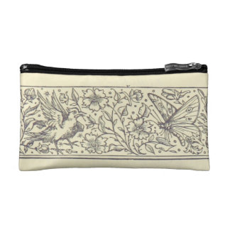 Bird Butterfly & Flowers Vintage Drawing Small Bag