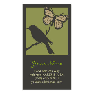 Bird Butterfly Profile Card Green Business Card Templates