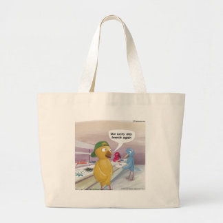 Bird Cafeteria Funny Large Tote Bag