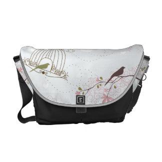 bird cage and cherry blossom bag courier bag