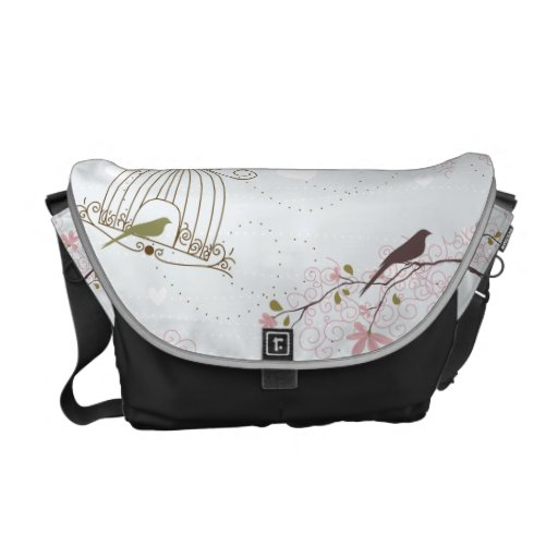 bird cage and cherry blossom bag commuter bags
