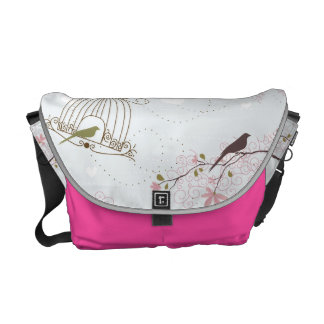 bird cage and cherry blossom bag pink messenger bags