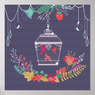 Bird cage beautiful illustration poster