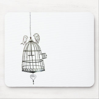 bird cage drawing mouse pad