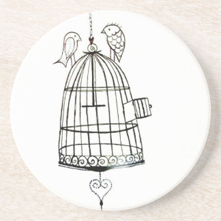 bird cage drawing sandstone coaster