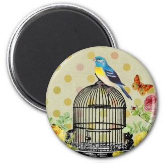 Bird Cage flower Vintage Magnet
