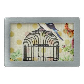 Bird Cage flower Vintage Rectangular Belt Buckle