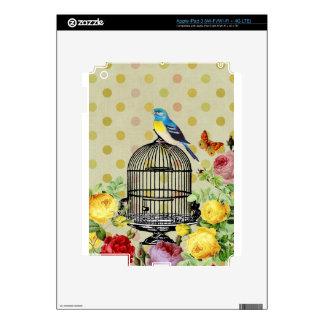 Bird Cage flower Vintage Skins For iPad 3