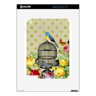 Bird Cage flower Vintage Skins For The iPad 2