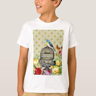 Bird Cage flower Vintage T-Shirt