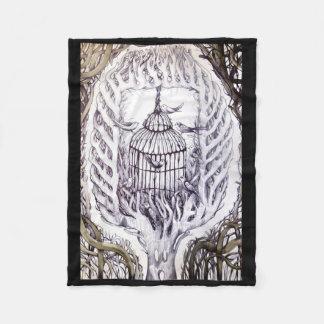 bird cage fly free tattoo sketch art tree root fleece blanket
