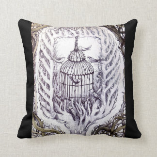 bird cage fly free tattoo sketch art tree roots throw pillow
