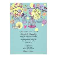 Bird Cage Love Birds Wedding Invitation