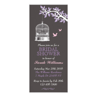 Bird Cage on Tree Lavender and Pink Invitation