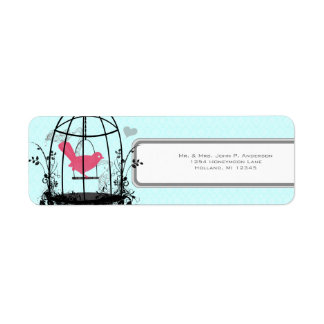 Bird Cage Pink Bird Musical Notes and Heart Label