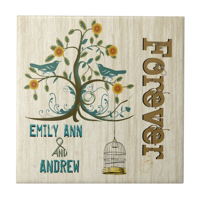 Bird Cage Wood Grain Tree Forever Anniversary Tile